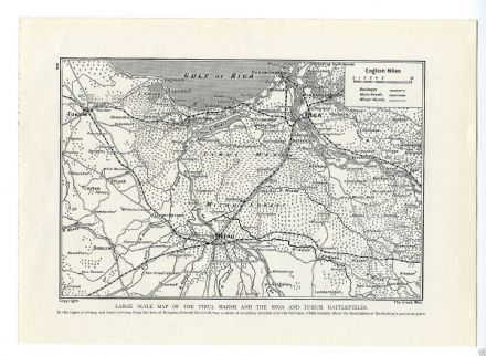 1915  WW1 MAP Riga TIRUL MARSH Tukum BATTLEFIELDS Mitau LATVIA Russia